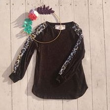 Black Top with Leopard Sequin Sleeve