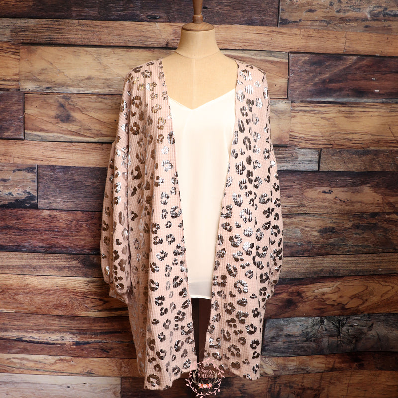 Tan Metallic Leopard Cardigan