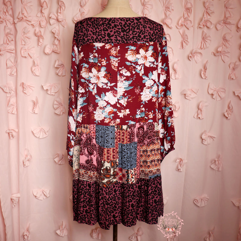 Burgundy Mixed Pattern Dress