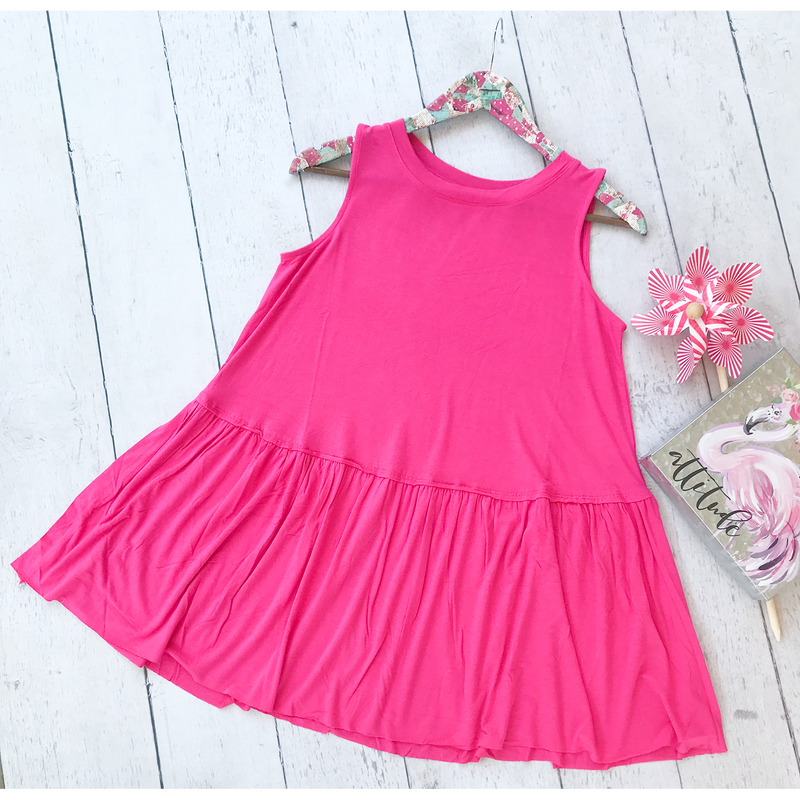 Pink Sleeveless Ruffle Top, Whimsy Willows Boutique