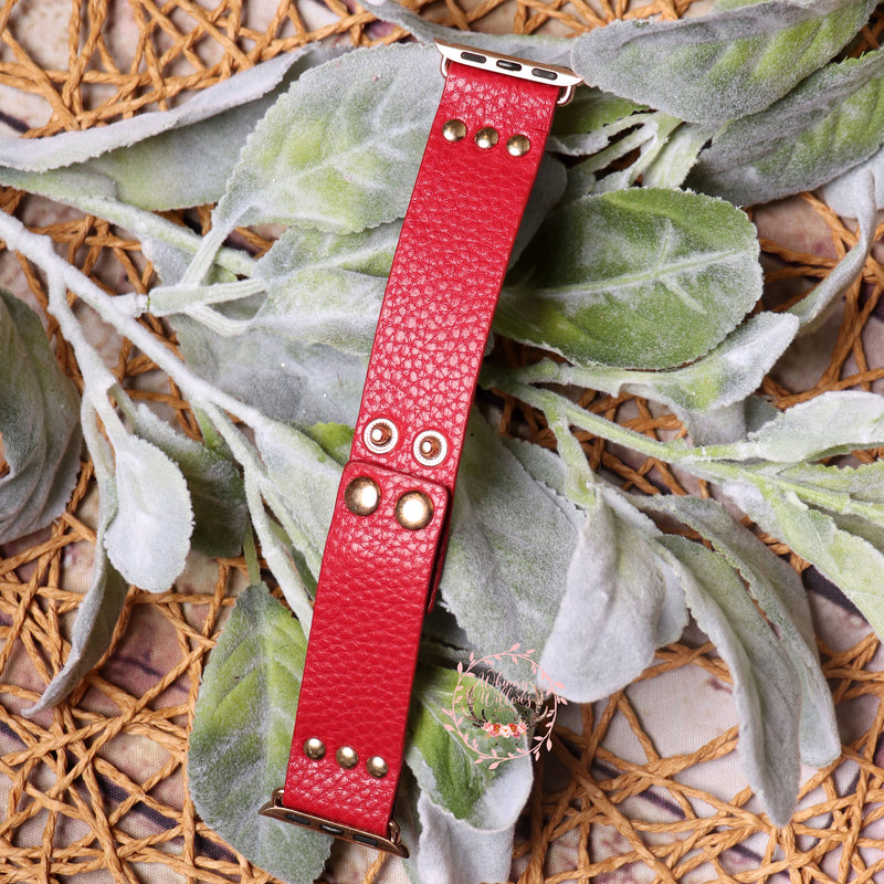 Red Leather Watchband