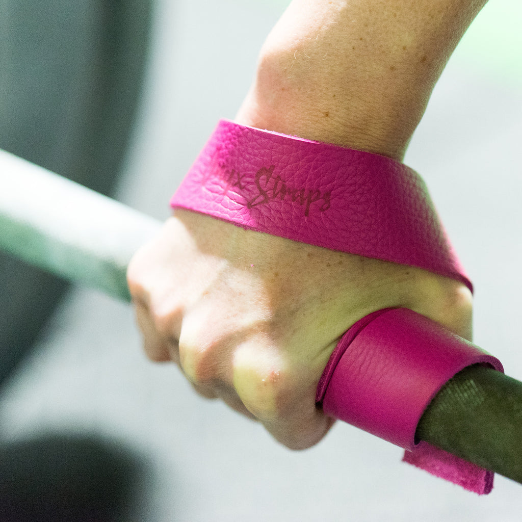 """Inked & Pink"" Onyx Leather Weightlifting Straps (pair)"
