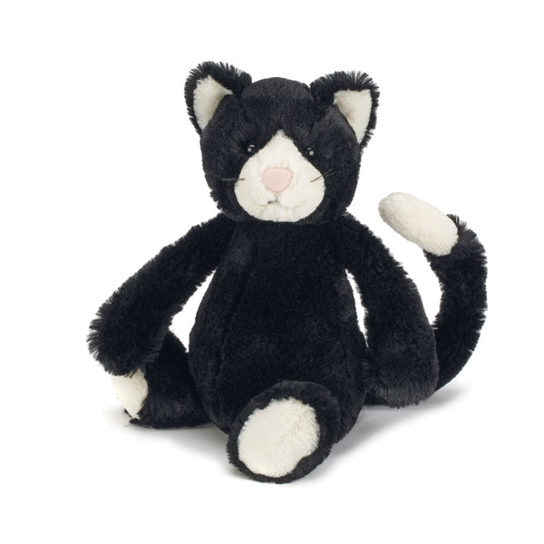 Bashful Black and White Cat Stuffed Animal
