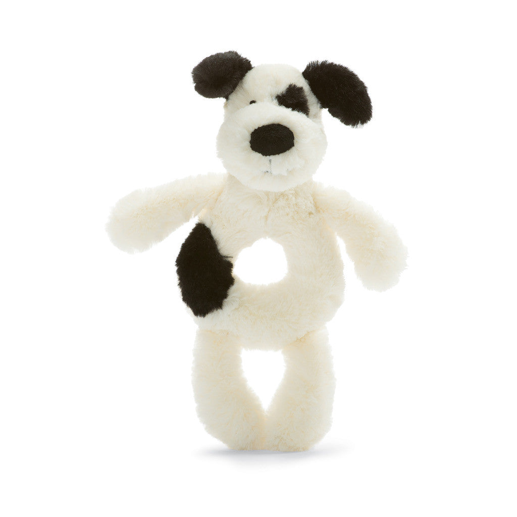 Bashful Black and Cream Puppy Grabber - 6 inches
