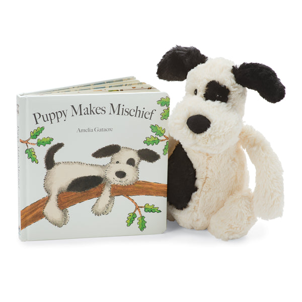 Puppy Makes Mischief Board Book and Bashful Black and Cream Puppy