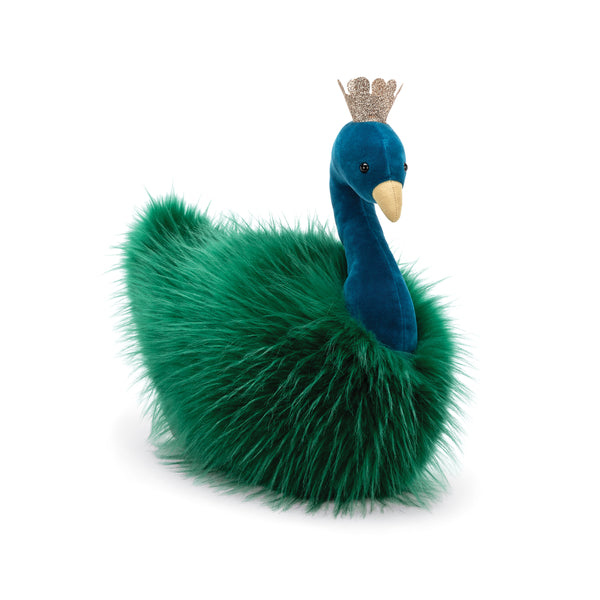 Fancy Peacock Fluffy Stuffed Animal, 12 inches