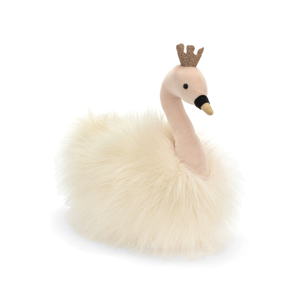Fancy Swan Fluffy Stuffed Animal, 12 inches