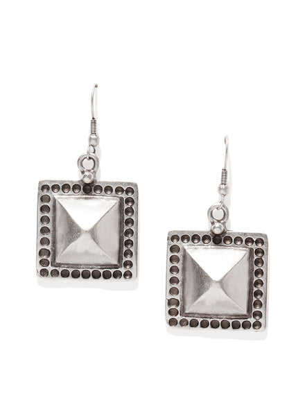 Square Pyramid Silver Plated Earrings