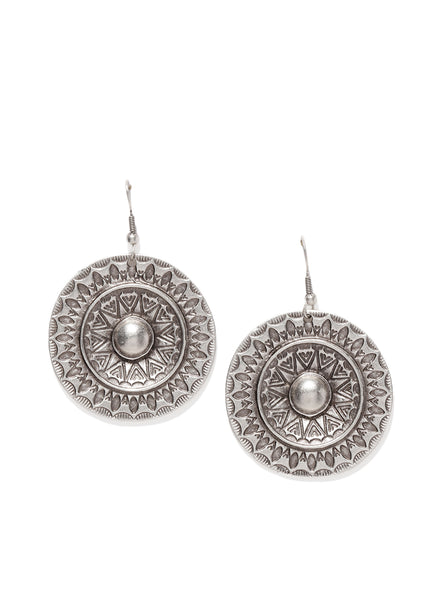 Silver Plated Round Seal Earrings