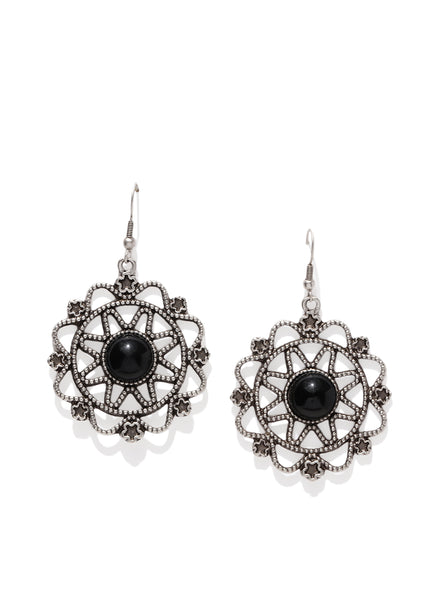 Silver Plated Telkari Round Earrings