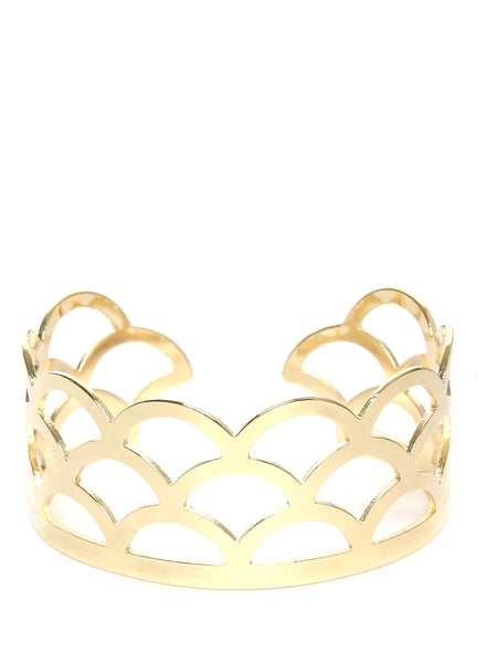 Thingalicious Women Gold-Toned Cut-Out Cuff Bracelet