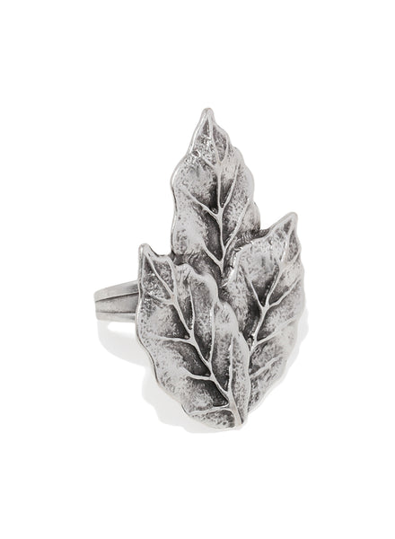 Leaf Silver Plated Adjustable Ring