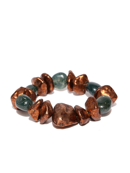 Antique Copper and Natural Stone Stretch Bracelet - Thingalicious  - 1