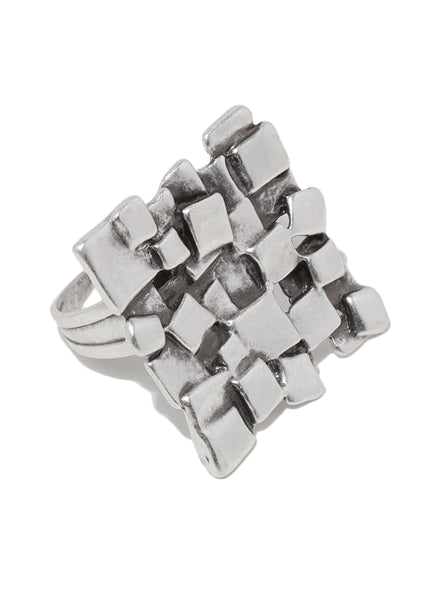 Abstract Textured Silver Plated Adjustable Ring