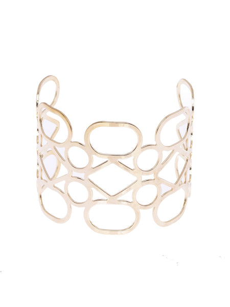 Geometric Cutwork Gold Plated Statement Cuff Bracelet
