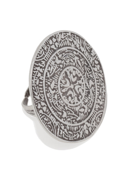 Ancient Round Seal Silver Plated Adjustable Ring