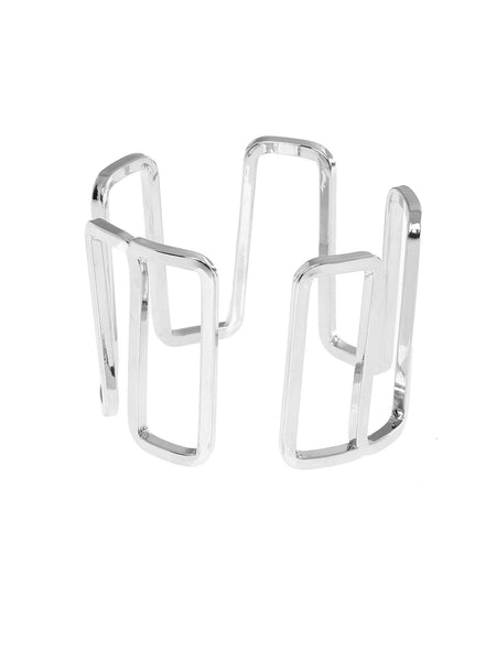 Geometric Wide Rhodium Plated Cuff Bracelet