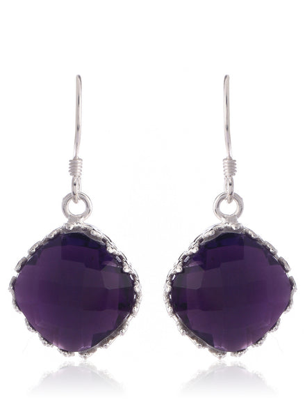 Amethyst Glow Silver Plated Earrings - Thingalicious  - 1