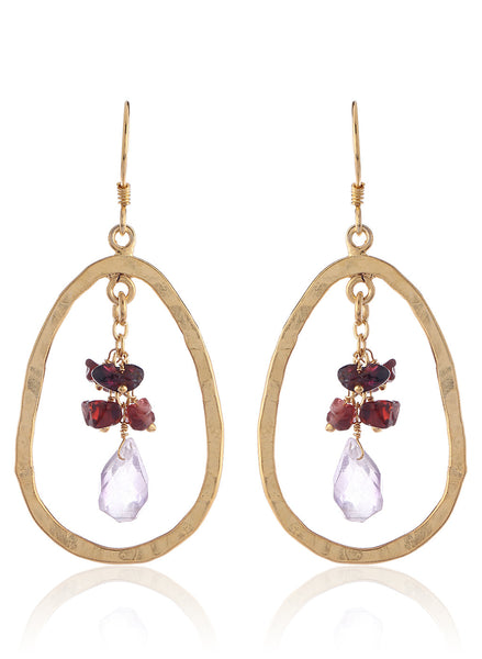 Amethyst and Garnet  Accented Oval Gold Plated Drop Earrings - Thingalicious  - 1