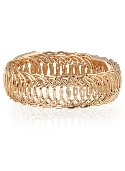 Adjustable Spring Chunky Gold Bracelet - Thingalicious  - 1
