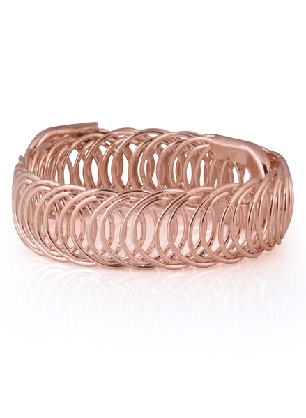 Adjustable Spring Chunky Rose Gold Bracelet - Thingalicious  - 1