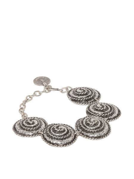 Silver Plated Engraved Circles Bracelet