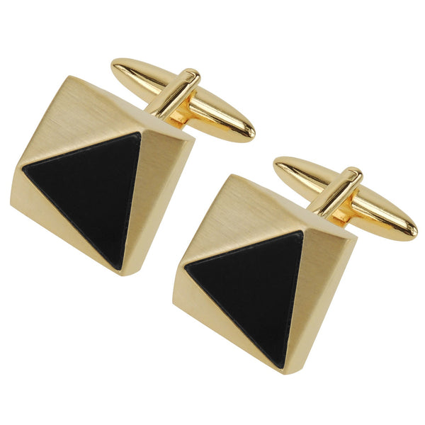 Faceted Brush Gold Triangle Black Detail Cufflinks - Thingalicious