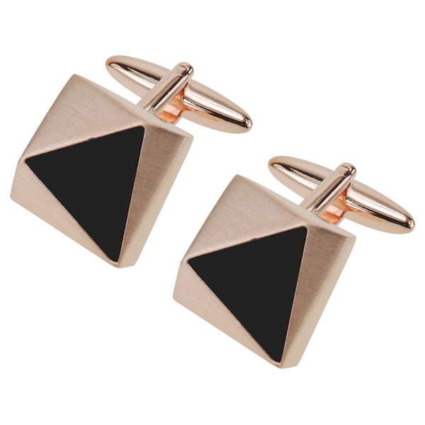 Faceted Brush Rose Gold Triangle Black Detail Cufflinks - Thingalicious