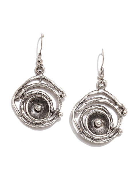 Silver Plated Round Drop Earrings
