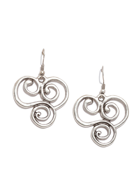 Silver Plated Contemporary Drop Earrings