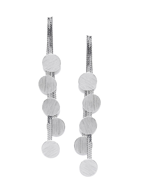 Classic Statenent Contemporary Rhodium Plated Earrings