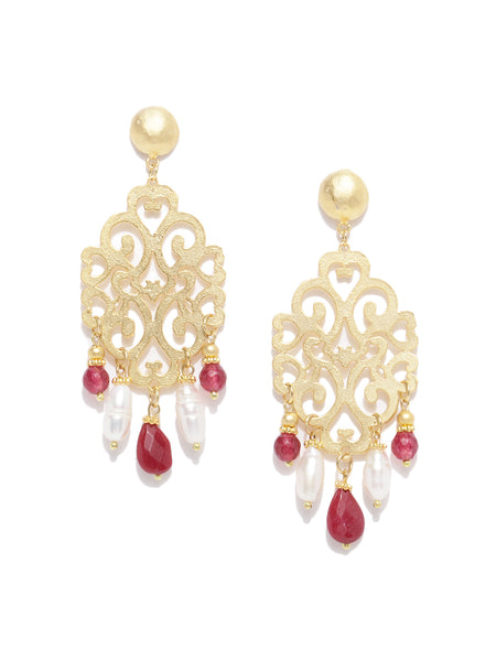 Filigree Red Quartz & Pearl Earrings