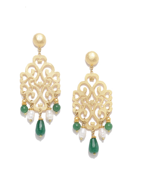 Filigree Green Quartz & Pearl Earrings