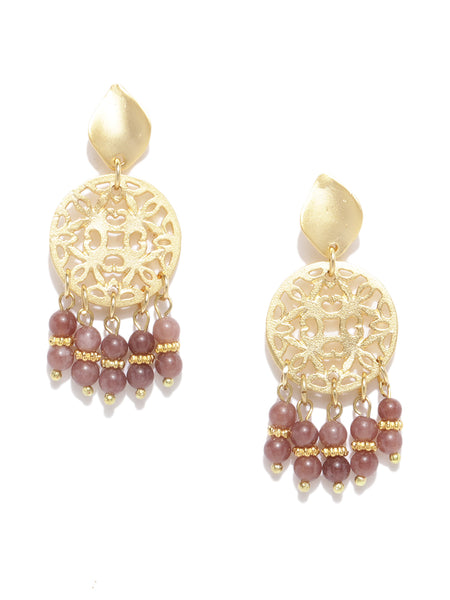 Filigree Maroon Quartz Earrings