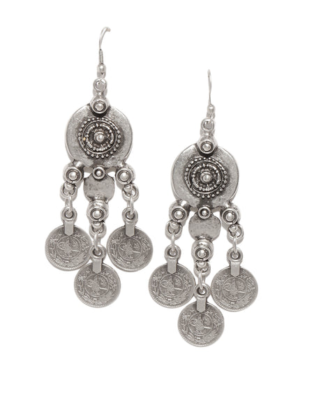 Coin Engraved Silver Plated Earrings