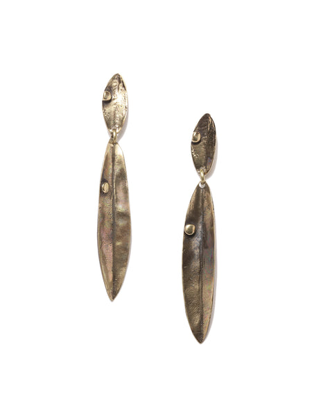 Antique Bronze Leaf Earrings