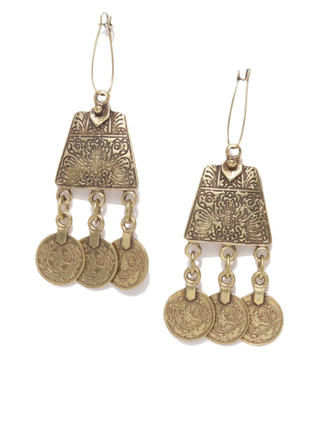 Antique Bronze Coin Earrings