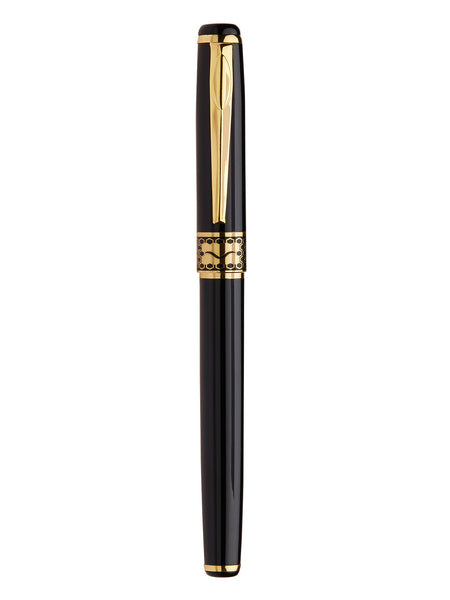 Classic Glosy Black Gold Detail Signature Roller Pen - Thingalicious  - 1