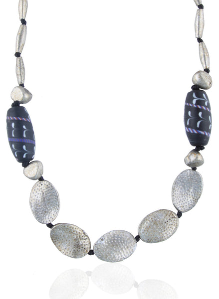 Aluminium & Glass Bead Necklace - Thingalicious  - 1