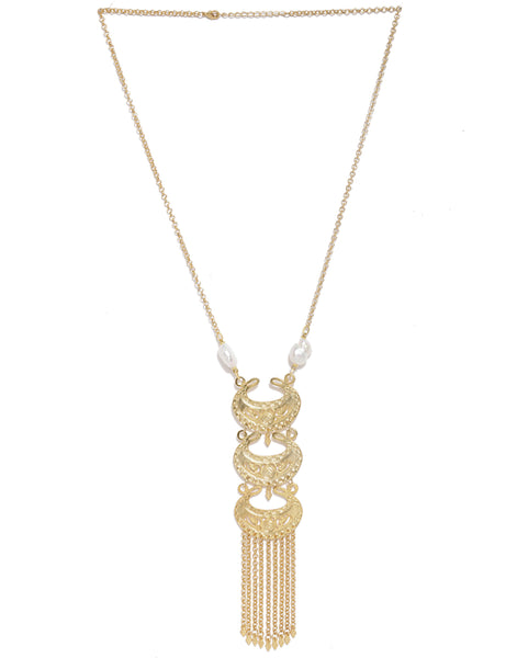 Gold Plated Chand Motif Tassel Necklace