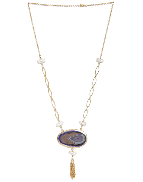 Gold Plated Agate and Pearl Necklace