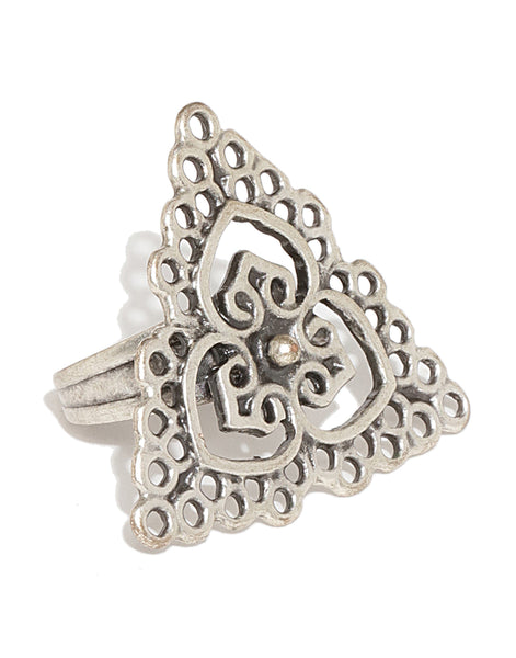 Silver Plated Triangular Filigree Ring