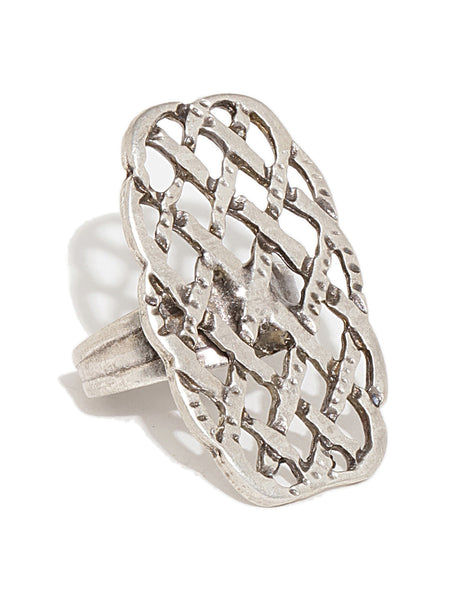 Silver Plated Geometric Criss Cross Ring