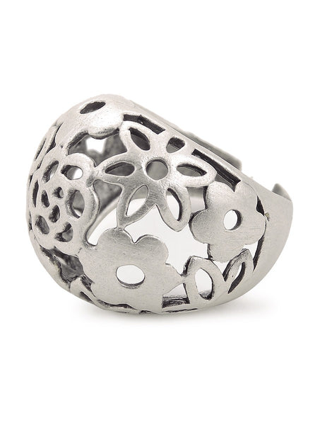 Classic Silver-plated Adjustable Ring with Floral Design