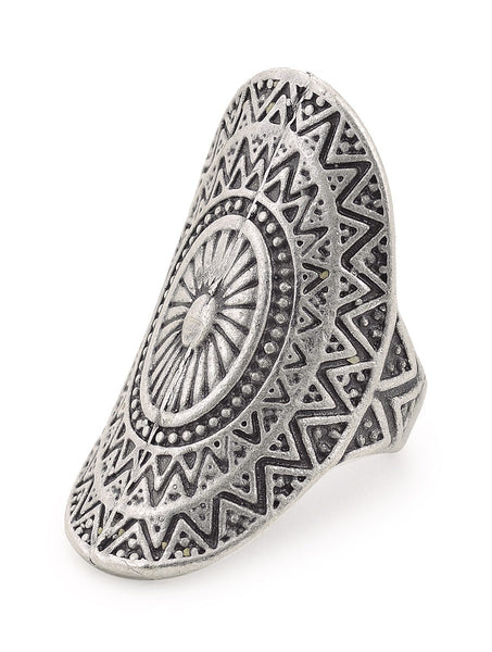 Classic Silver-plated Adjustable Ring with Floral Motif Rings