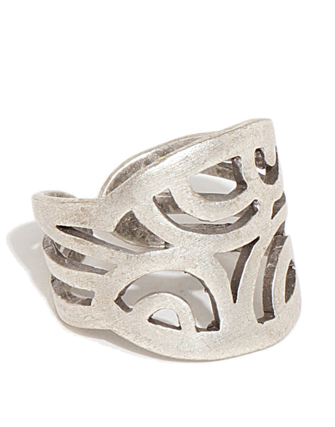 Silver Plated Swirl Statement Ring