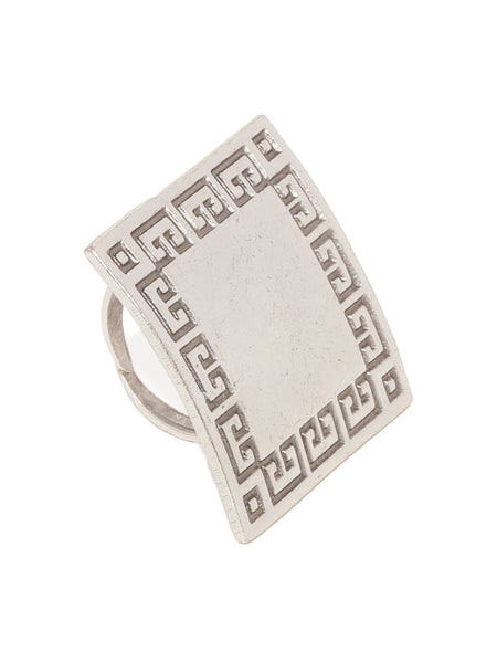 Bold Square Silver Plated Adjustable Ring