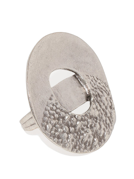 Semi Textured Disc Silver Plated Adjustable Ring