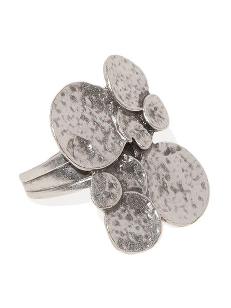 Geometric Textured Silver Plated Adjustable Ring