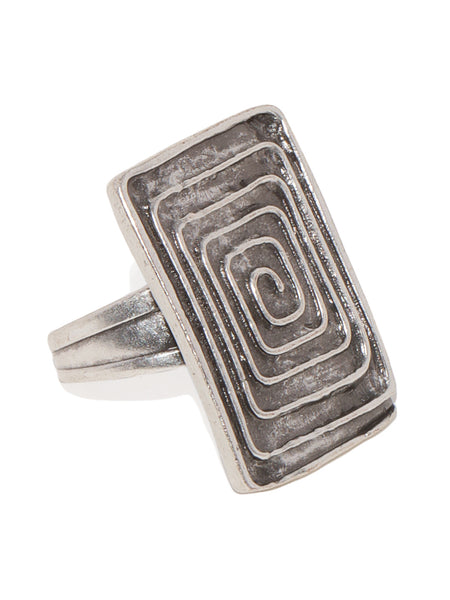 Rectangle Engraved Silver Plated Ring